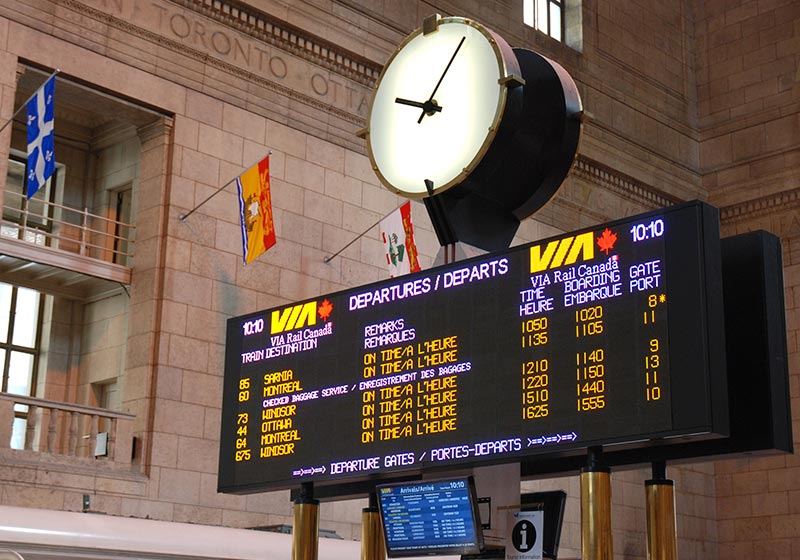 image of Via Rail Departure LED display