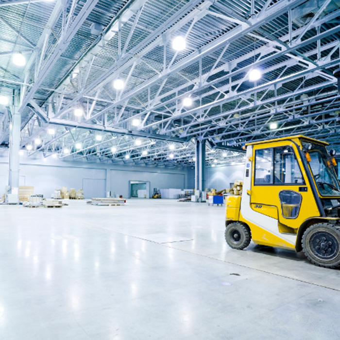 image of warehouse with LED lighting