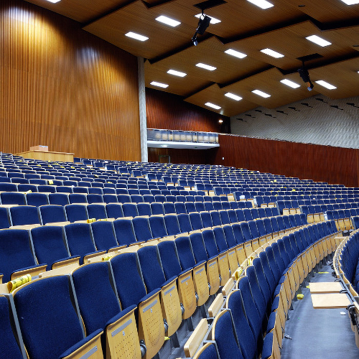 image of a school auditorium with LED lighting