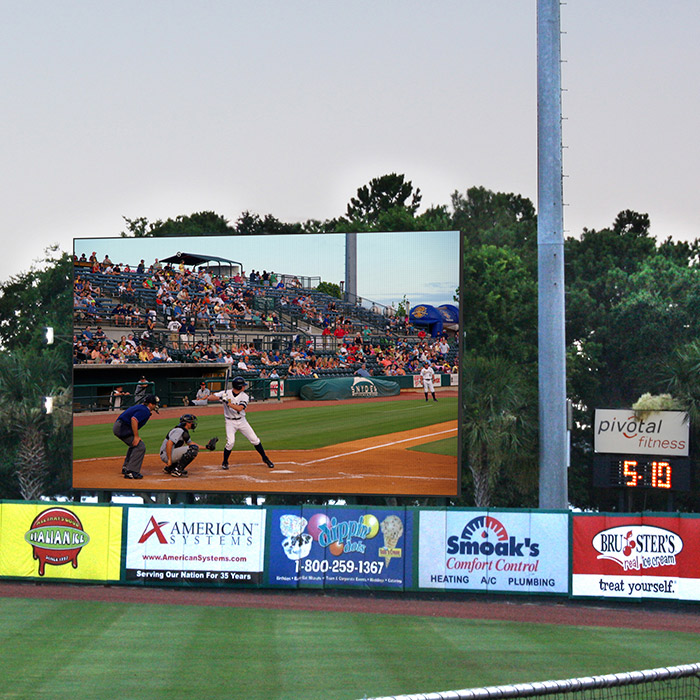image of BB&T Baseball Park with LED scoreboard